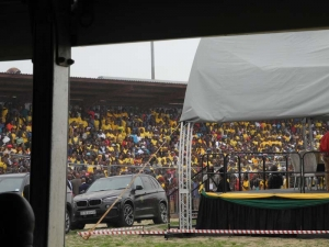 Thousands of ANC (African National Congress) supporters came to support Jacob Zuma at a rally. The party has taken an unfortunate turn since Mandela's presidency.