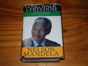 "Above is Nelson Mandela's novel, ""A Long Walk to Freedom."""
